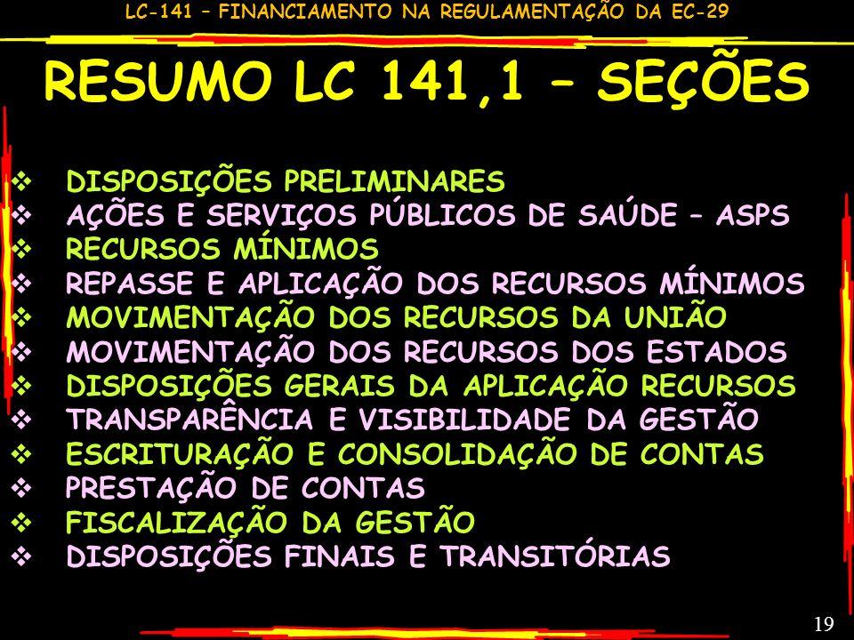 RESUMO LC 141,1 – SEÇÕES DISPOSIÇÕES PRELIMINARES