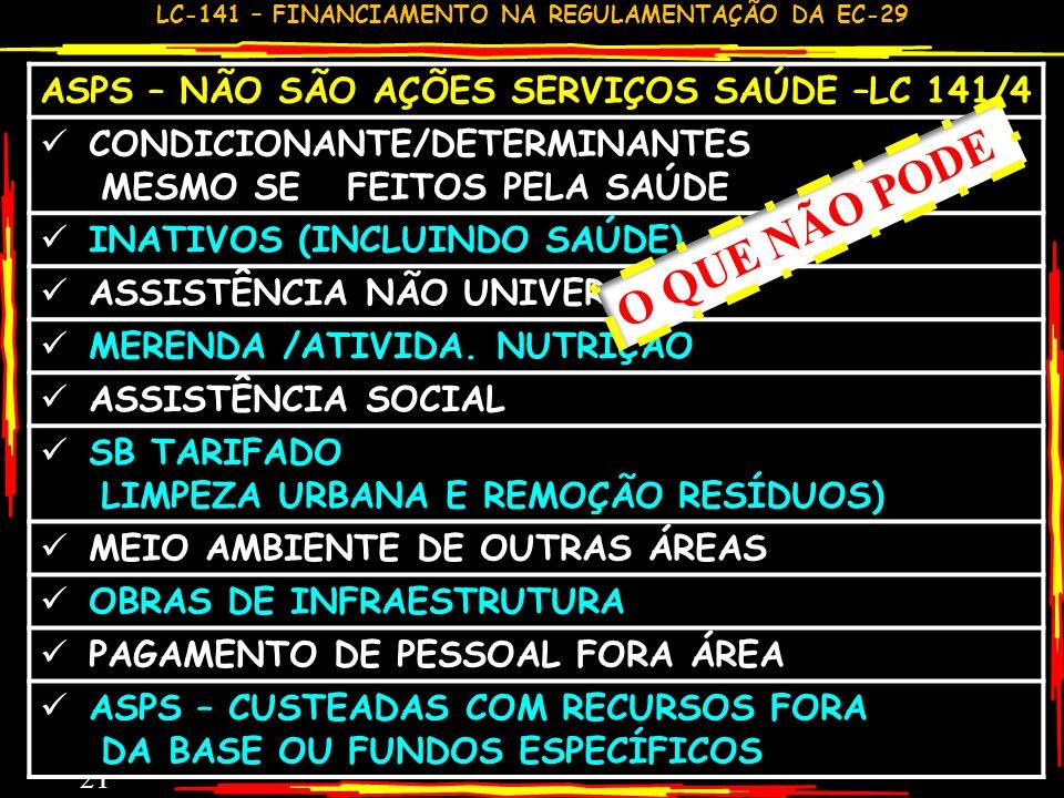 ASPS – NÃO SÃO AÇÕES SERVIÇOS SAÚDE –LC 141/4