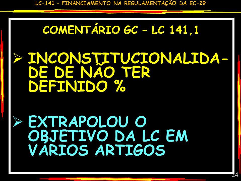INCONSTITUCIONALIDA-DE DE NÃO TER DEFINIDO %