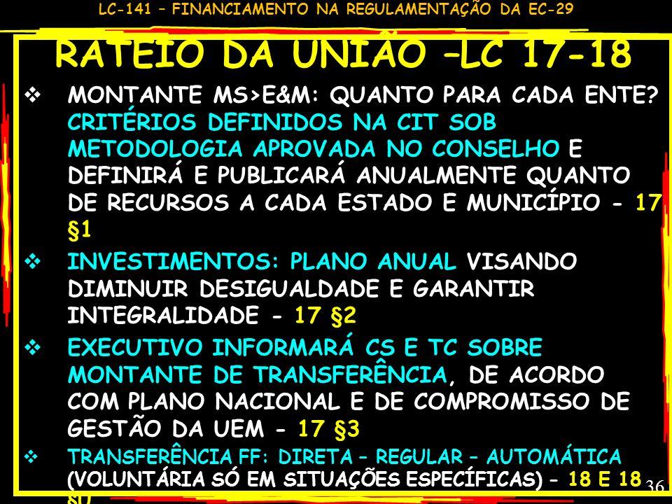 RATEIO DA UNIÃO –LC 17-18