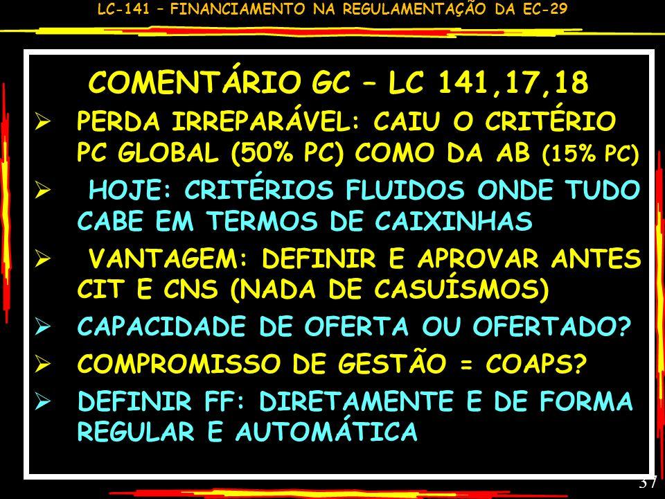 COMENTÁRIO GC – LC 141,17,18PERDA IRREPARÁVEL: CAIU O CRITÉRIO PC GLOBAL (50% PC) COMO DA AB (15% PC)