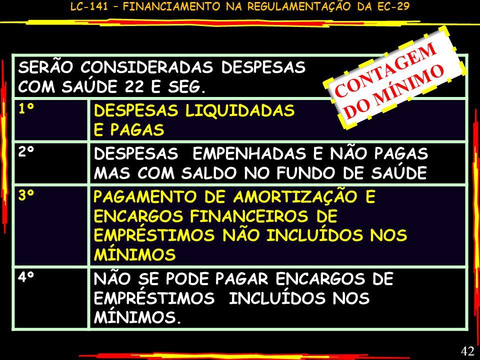 CONTAGEM DO MÍNIMO SERÃO CONSIDERADAS DESPESAS COM SAÚDE 22 E SEG.