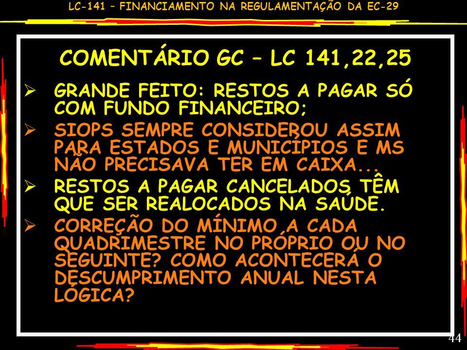 COMENTÁRIO GC – LC 141,22,25GRANDE FEITO: RESTOS A PAGAR SÓ COM FUNDO FINANCEIRO;