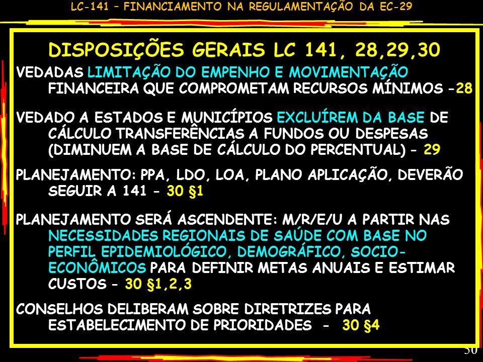DISPOSIÇÕES GERAIS LC 141, 28,29,30 VEDADAS LIMITAÇÃO DO EMPENHO E MOVIMENTAÇÃO FINANCEIRA QUE COMPROMETAM RECURSOS MÍNIMOS -28.