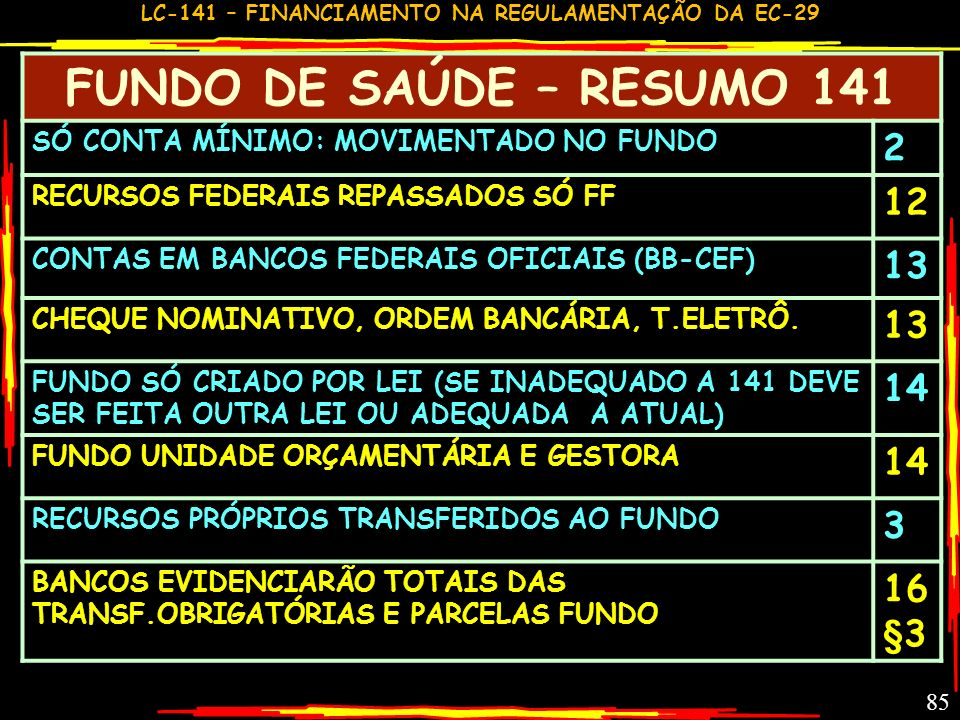 FUNDO DE SAÚDE – RESUMO 141 2 12 13 14 3 16§3