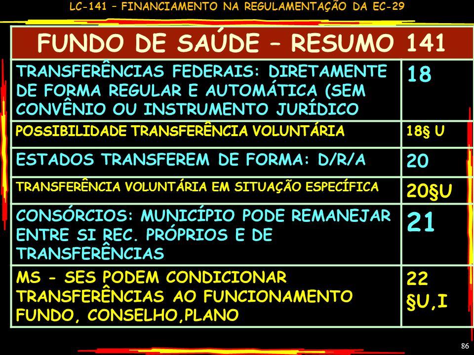 21 FUNDO DE SAÚDE – RESUMO 141 18 20 20§U 22 §U,I