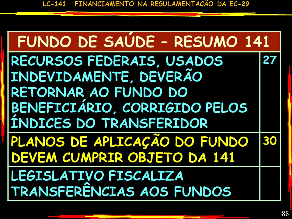 FUNDO DE SAÚDE – RESUMO 141