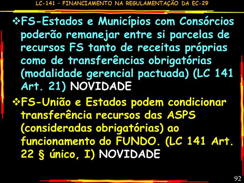 FS-Estados e Municípios com Consórcios poderão remanejar entre si parcelas de recursos FS tanto de receitas próprias como de transferências obrigatórias (modalidade gerencial pactuada) (LC 141 Art. 21) NOVIDADE