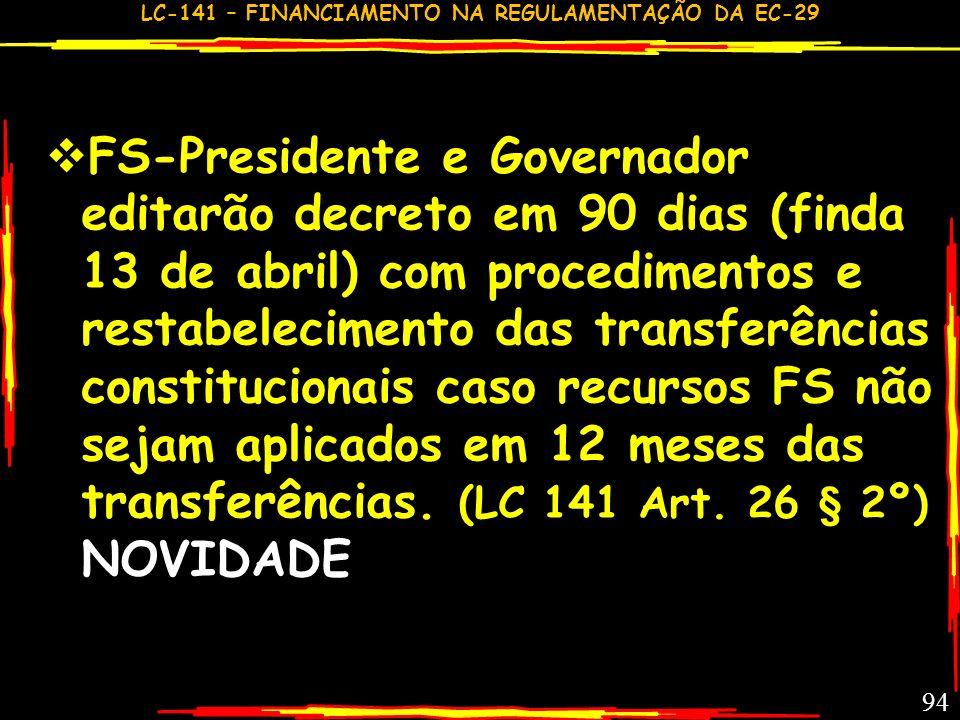 FS-Presidente e Governador editarão decreto em 90 dias (finda 13 de abril) com procedimentos e restabelecimento das transferências constitucionais caso recursos FS não sejam aplicados em 12 meses das transferências.