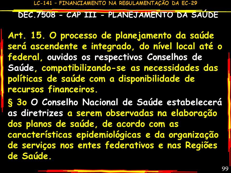 DEC.7508 - CAP III - PLANEJAMENTO DA SAÚDE