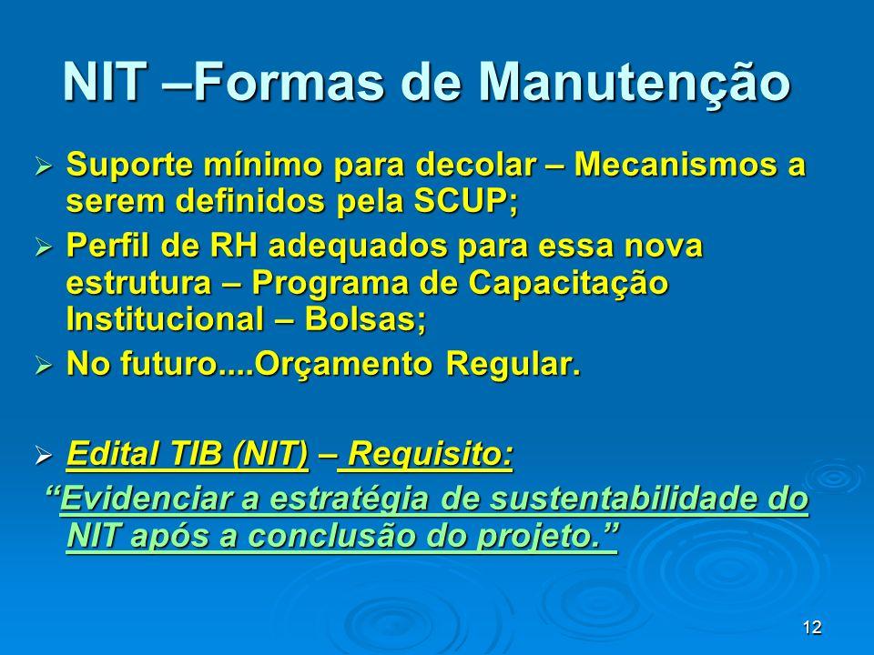 NIT –Formas de Manutenção