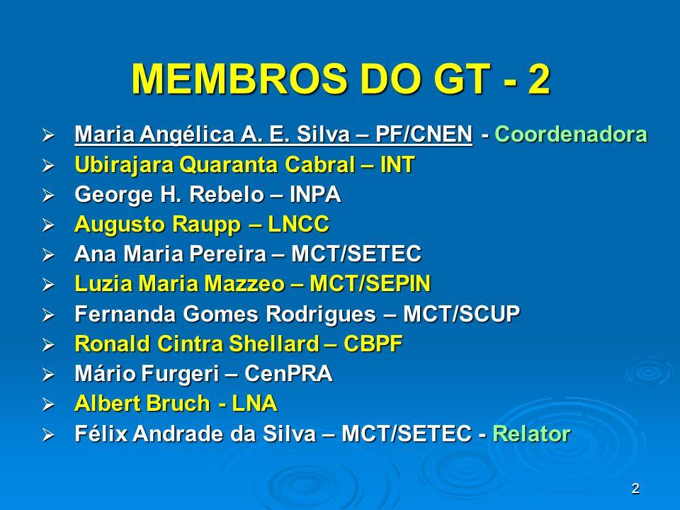 MEMBROS DO GT - 2 Maria Angélica A. E. Silva – PF/CNEN - Coordenadora