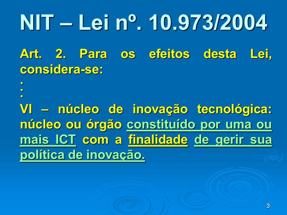 NIT – Lei nº. 10.973/2004 Art. 2. Para os efeitos desta Lei, considera-se: .