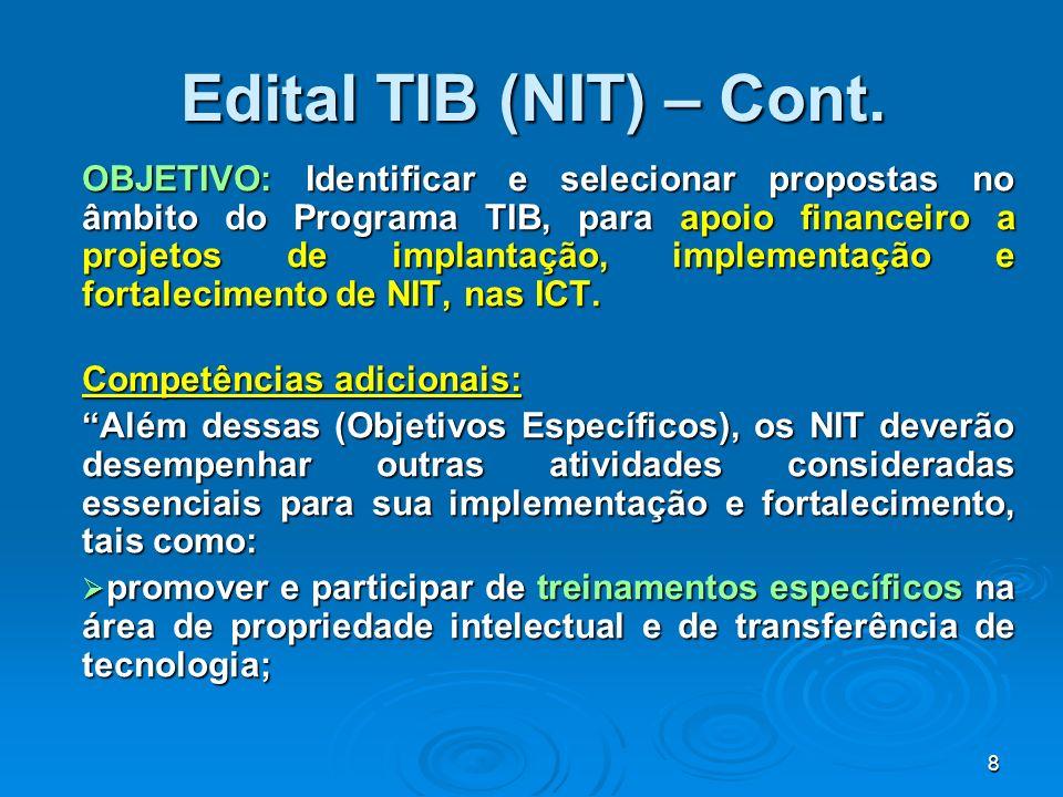 Edital TIB (NIT) – Cont.