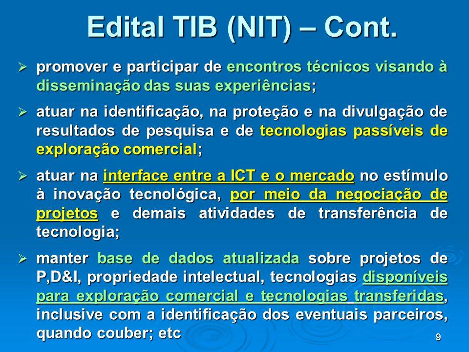 Edital TIB (NIT) – Cont. promover e participar de encontros técnicos visando à disseminação das suas experiências;