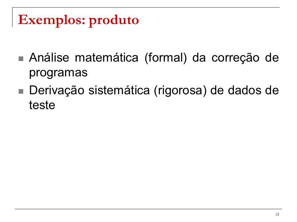 Exemplos: produto Análise matemática (formal) da correção de programas