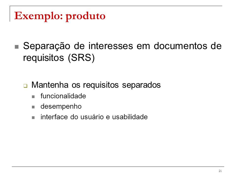 Exemplo: produto Separação de interesses em documentos de requisitos (SRS) Mantenha os requisitos separados.