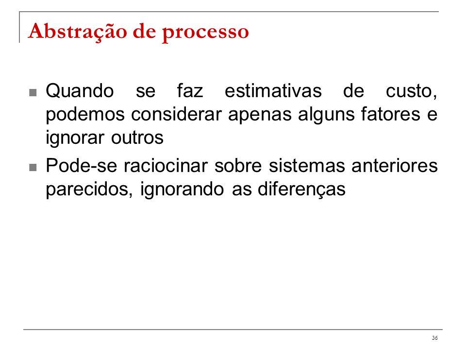 Abstração de processo Quando se faz estimativas de custo, podemos considerar apenas alguns fatores e ignorar outros.