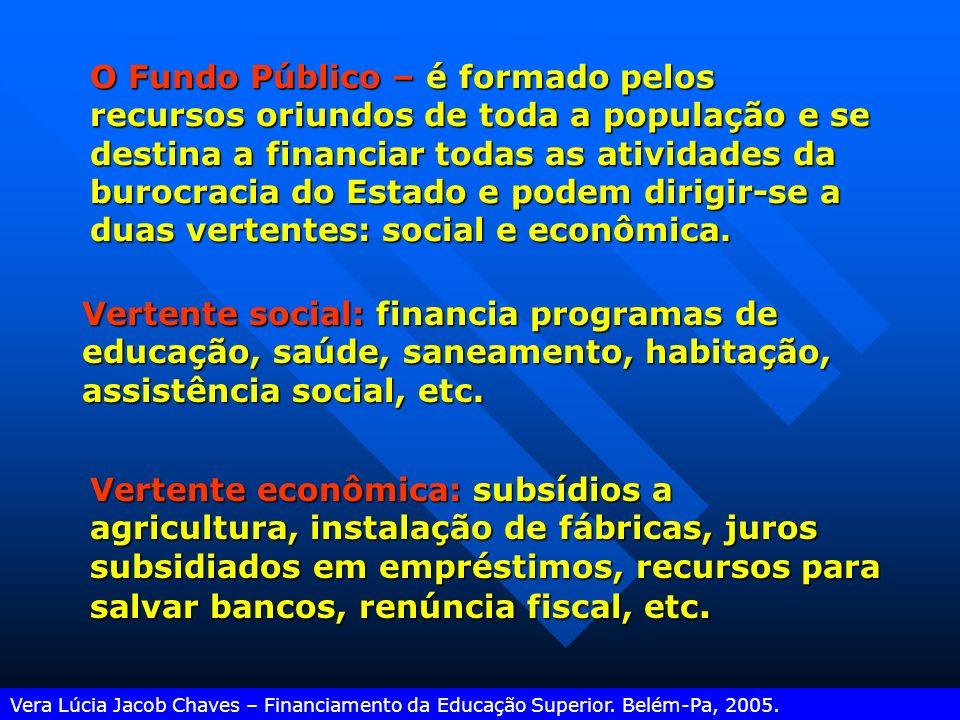 O Fundo Público – é formado pelos recursos oriundos de toda a população e se destina a financiar todas as atividades da burocracia do Estado e podem dirigir-se a duas vertentes: social e econômica.