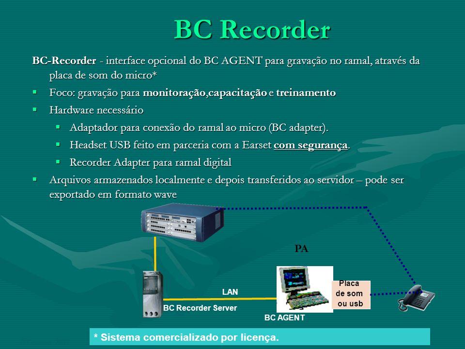 BC Recorder BC-Recorder - interface opcional do BC AGENT para gravação no ramal, através da placa de som do micro*