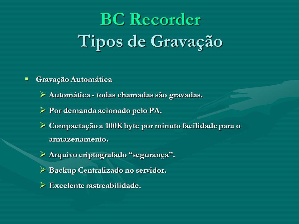 BC Recorder Tipos de Gravação