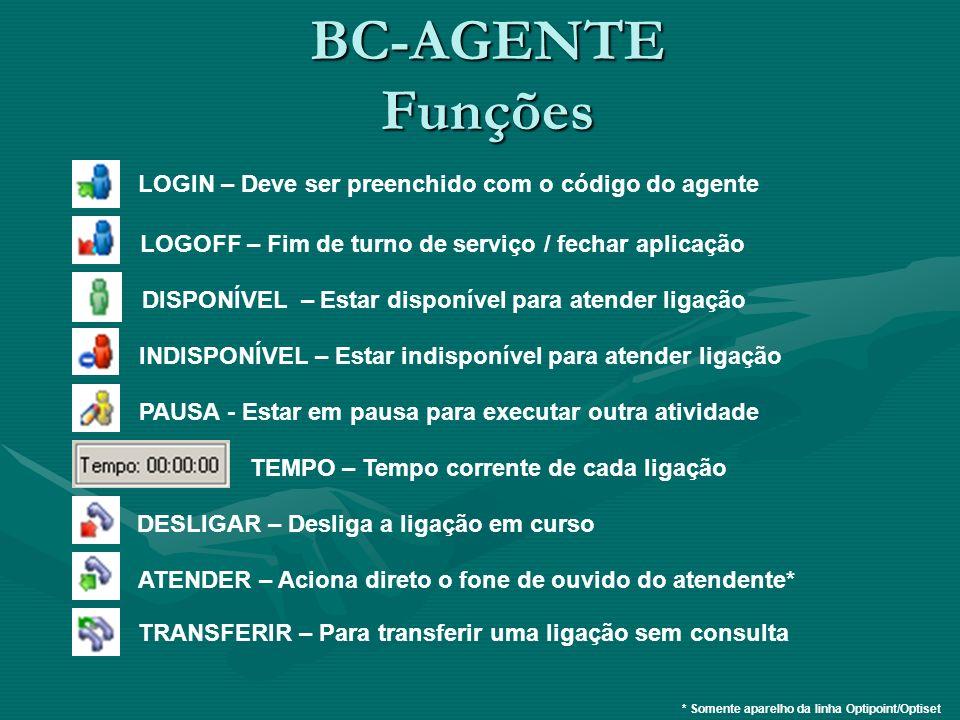 BC-AGENTE Funções LOGIN – Deve ser preenchido com o código do agente