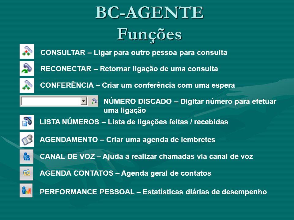 BC-AGENTE Funções CONSULTAR – Ligar para outro pessoa para consulta