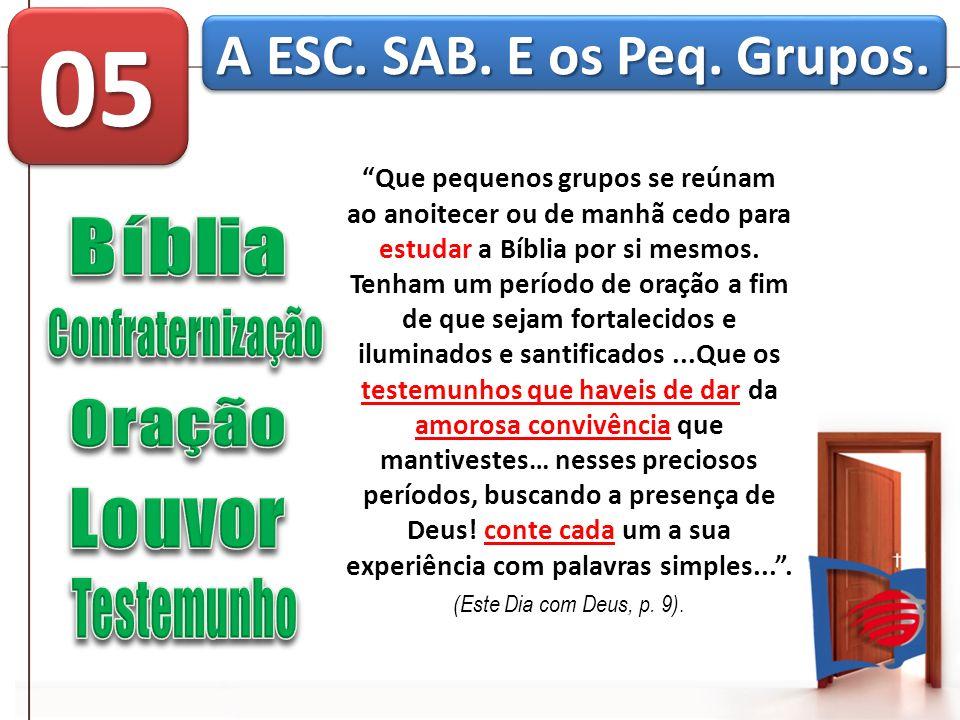 05 A ESC. SAB. E os Peq. Grupos. Bíblia Confraternização Oração Louvor