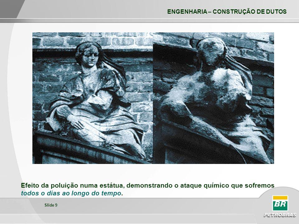 Efeito da poluição numa estátua, demonstrando o ataque químico que sofremos todos o dias ao longo do tempo.