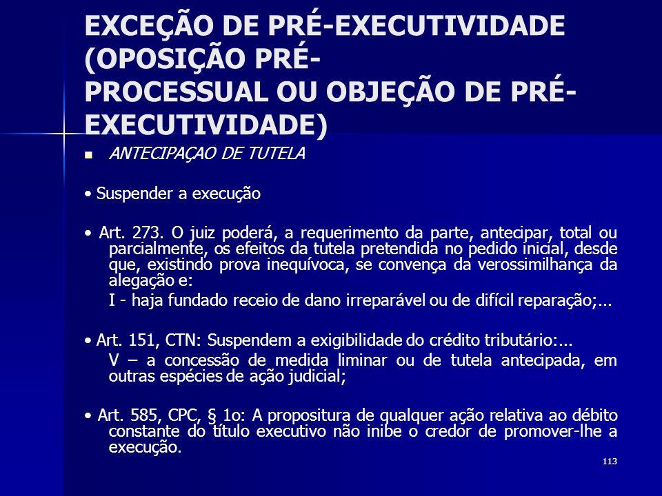 EXCEÇÃO DE PRÉ-EXECUTIVIDADE (OPOSIÇÃO PRÉ- PROCESSUAL OU OBJEÇÃO DE PRÉ-EXECUTIVIDADE)