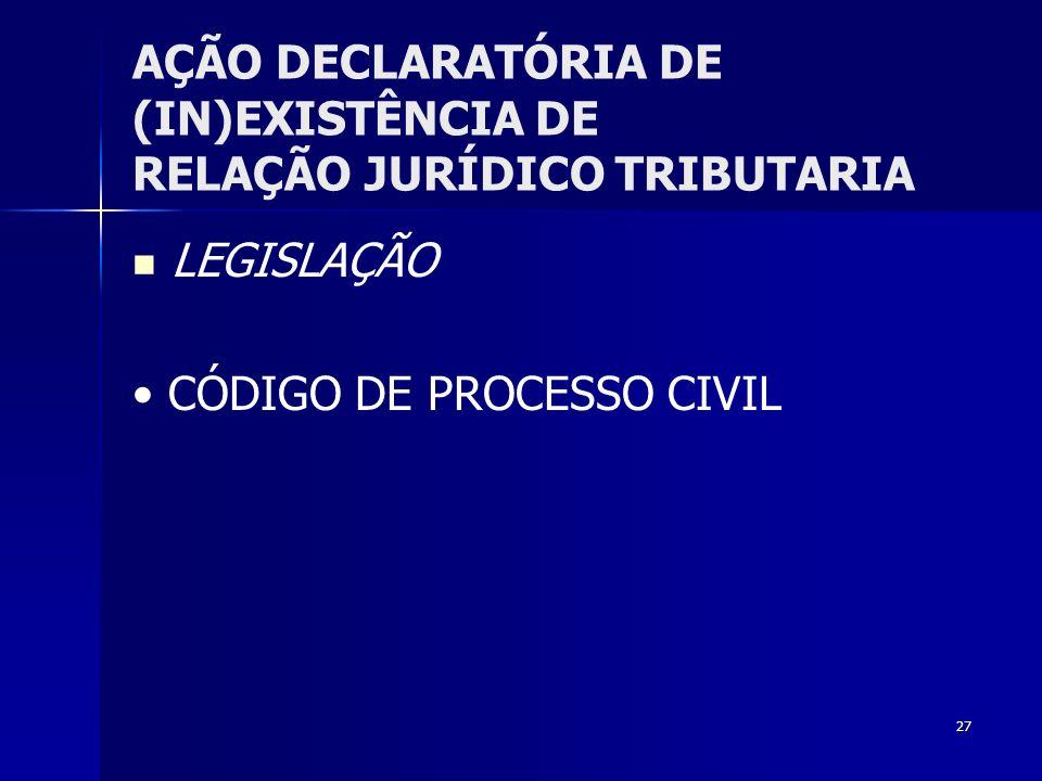 AÇÃO DECLARATÓRIA DE (IN)EXISTÊNCIA DE RELAÇÃO JURÍDICO TRIBUTARIA