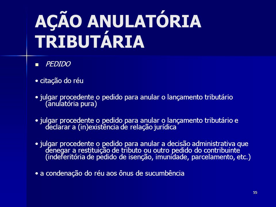 AÇÃO ANULATÓRIA TRIBUTÁRIA