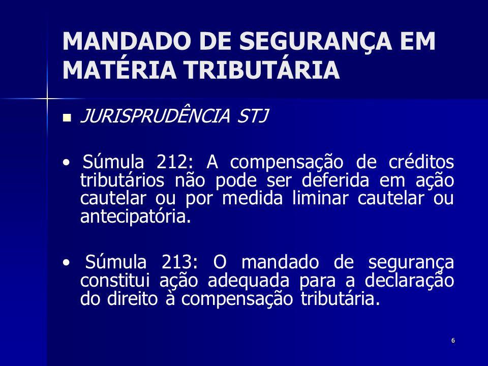 MANDADO DE SEGURANÇA EM MATÉRIA TRIBUTÁRIA