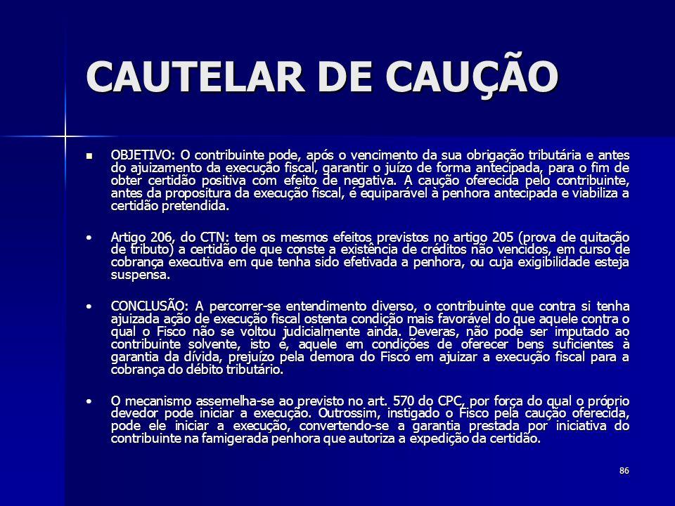 CAUTELAR DE CAUÇÃO