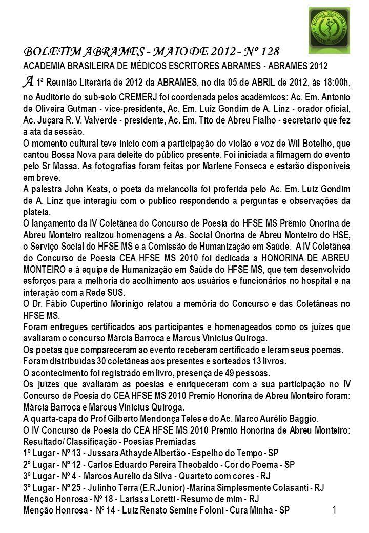 BOLETIM ABRAMES - MAIO DE 2012 - Nº 128