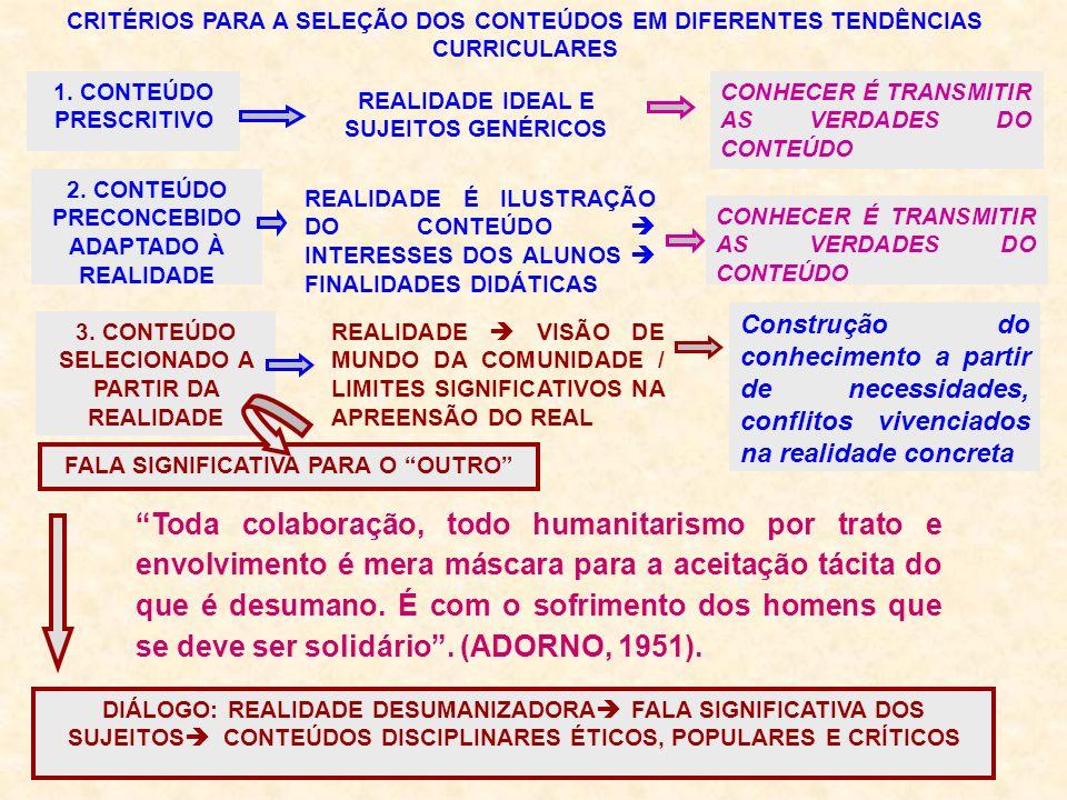 CRITÉRIOS PARA A SELEÇÃO DOS CONTEÚDOS EM DIFERENTES TENDÊNCIAS CURRICULARES