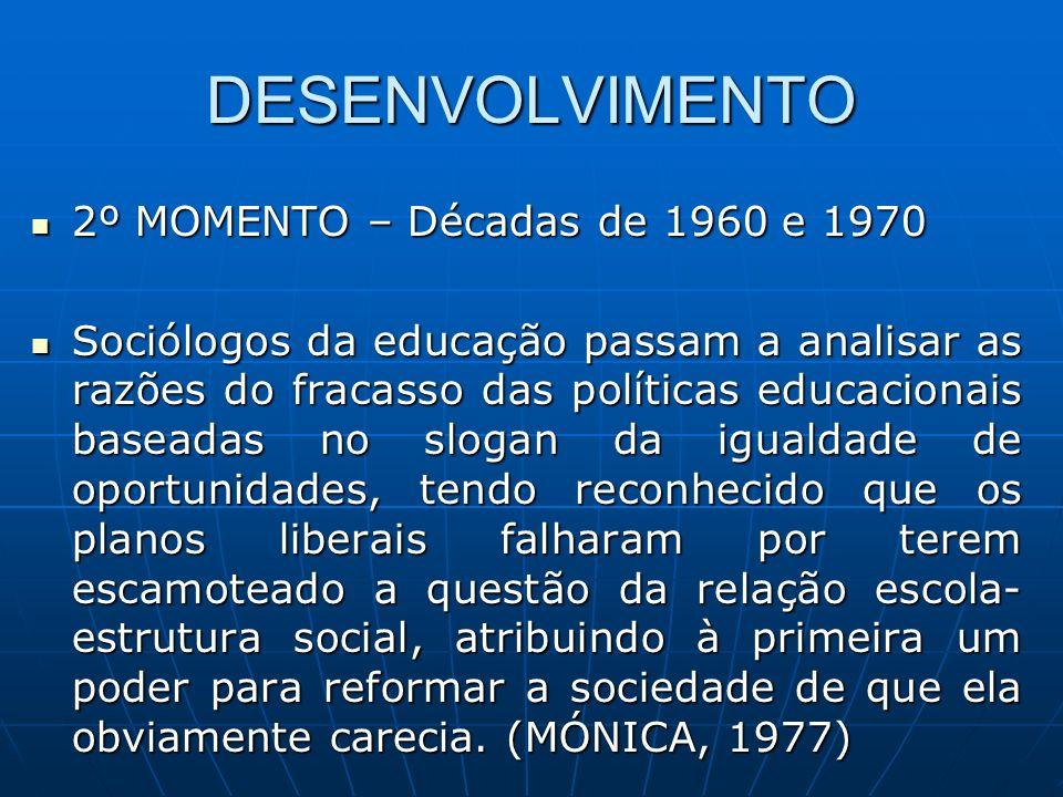 DESENVOLVIMENTO 2º MOMENTO – Décadas de 1960 e 1970