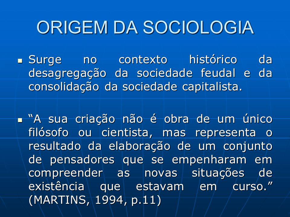 ORIGEM DA SOCIOLOGIA Surge no contexto histórico da desagregação da sociedade feudal e da consolidação da sociedade capitalista.