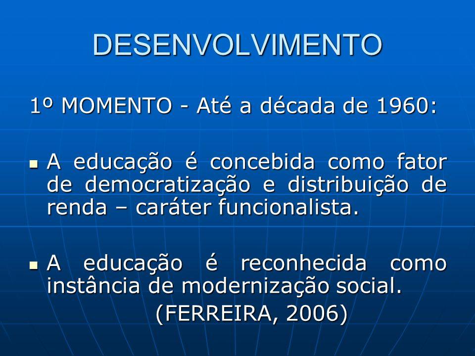 DESENVOLVIMENTO 1º MOMENTO - Até a década de 1960: