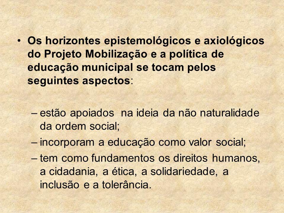 Os horizontes epistemológicos e axiológicos do Projeto Mobilização e a política de educação municipal se tocam pelos seguintes aspectos: