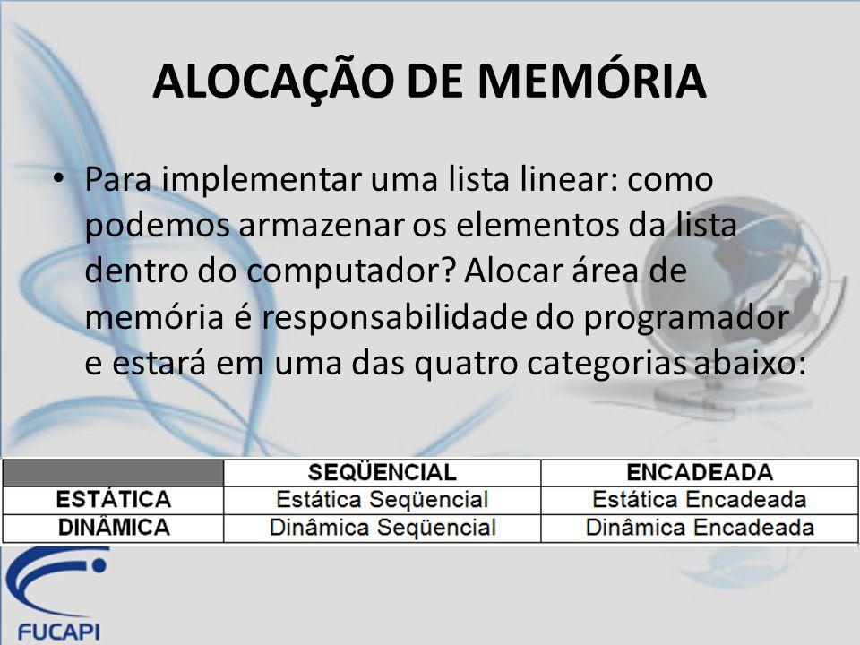 ALOCAÇÃO DE MEMÓRIA