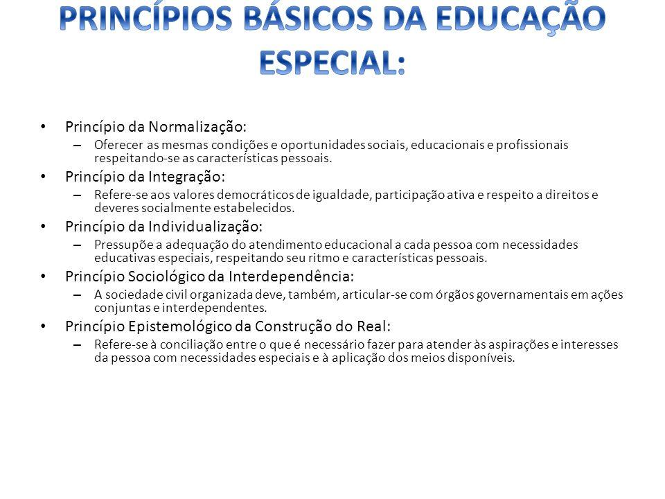 PRINCÍPIOS BÁSICOS DA EDUCAÇÃO ESPECIAL: