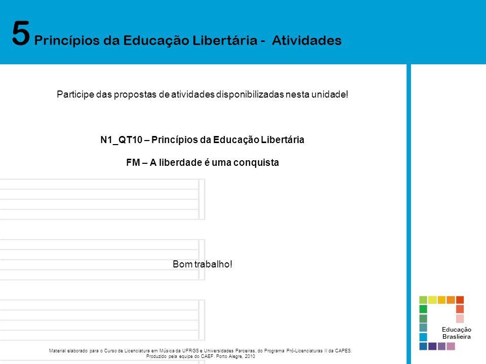 5 Princípios da Educação Libertária - Atividades