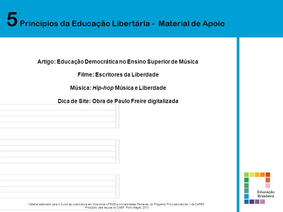 5 Princípios da Educação Libertária - Material de Apoio