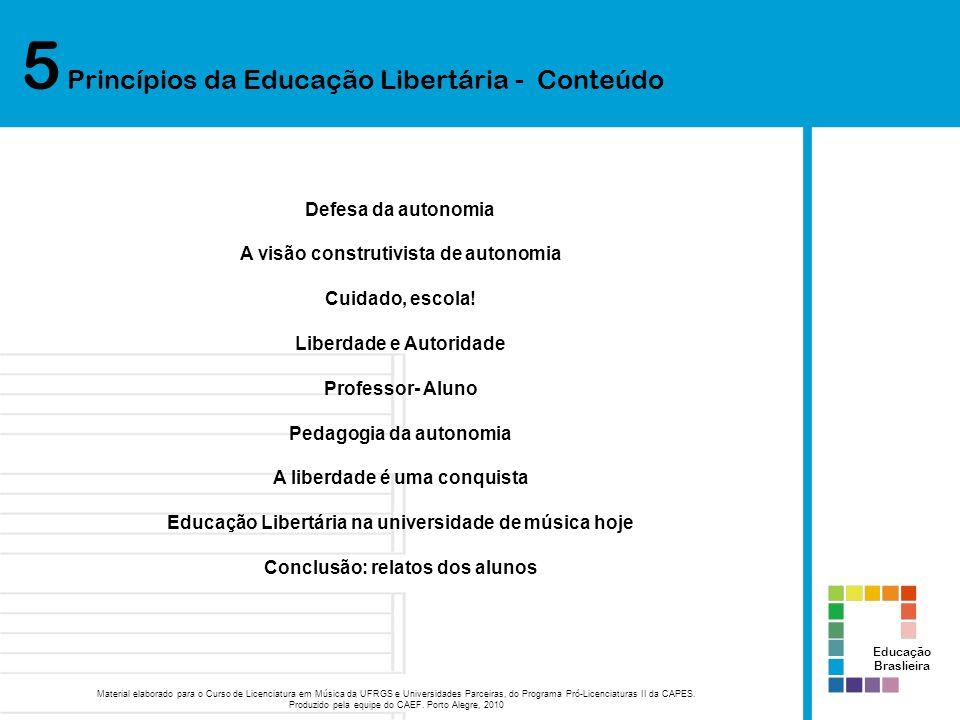 5 Princípios da Educação Libertária - Conteúdo