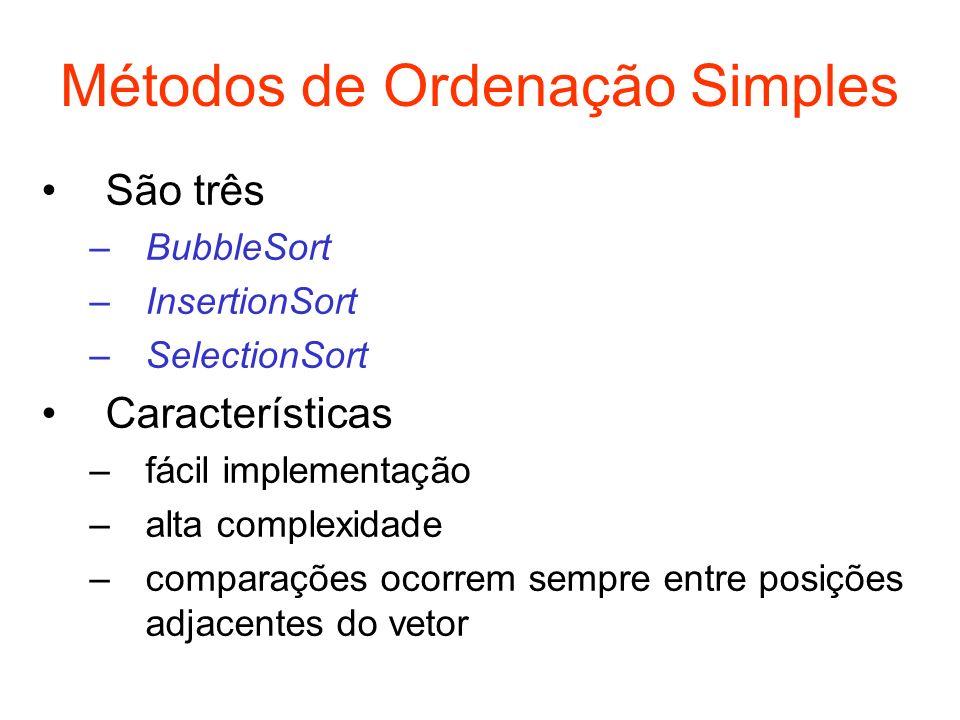 Métodos de Ordenação Simples
