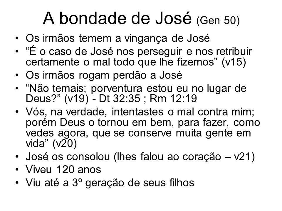 A bondade de José (Gen 50) Os irmãos temem a vingança de José