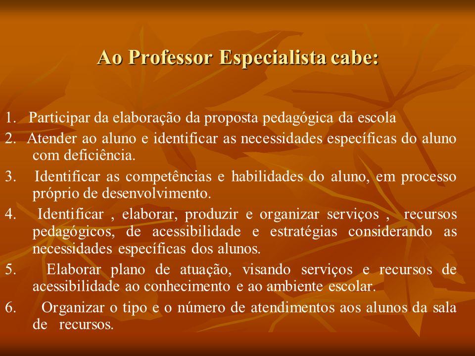 Ao Professor Especialista cabe: