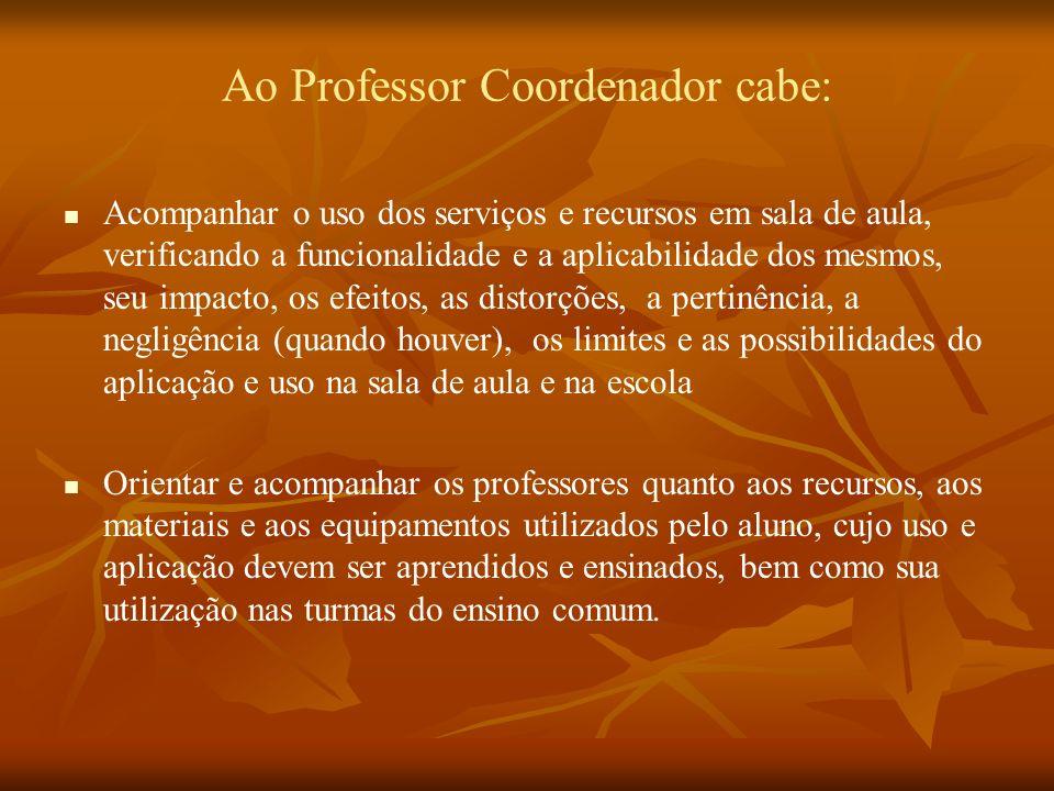 Ao Professor Coordenador cabe:
