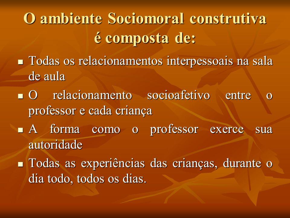 O ambiente Sociomoral construtiva é composta de: